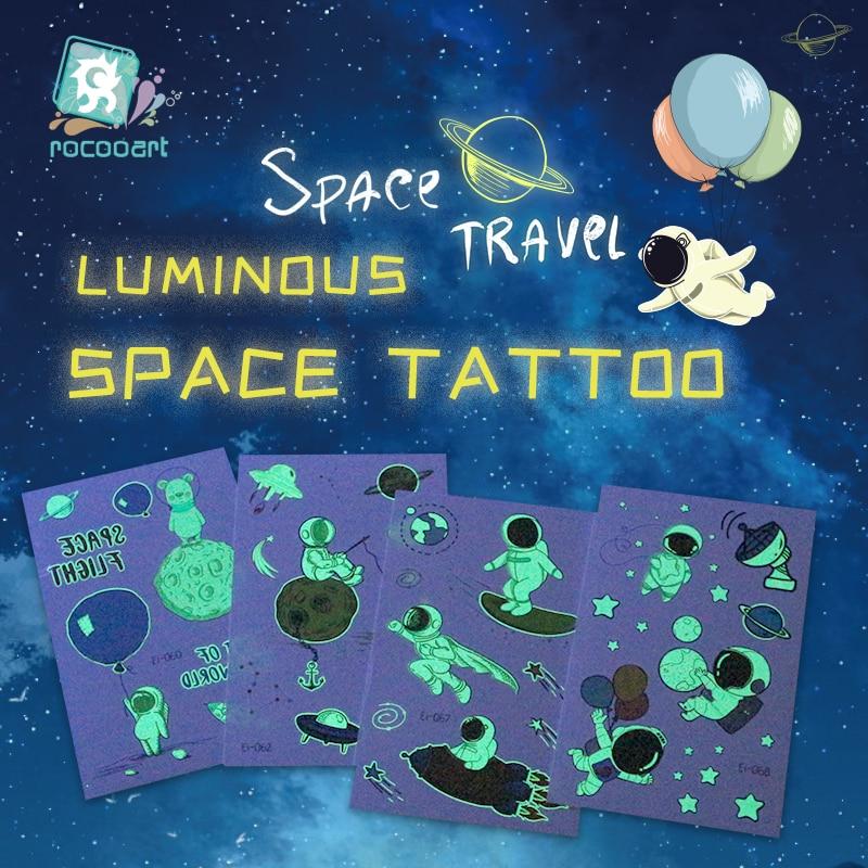 Luminous Astronaut Universe Temporary Tattoos Sticker For Kids Fake Tattoo Planets Star Tatoos Children Waterproof Space Man