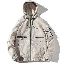 Casual student jacket autumn men thin hip hop windbreaker hooded zip new