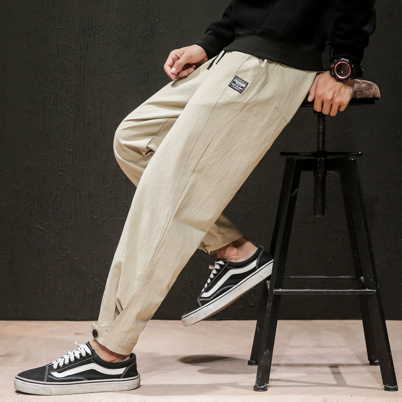 Dropshipping 2019 Mens Linen Losse Sweatpants Men Solid Harajuku Streetwear Harem Pants  Male Sweatpants 5XL Joggers