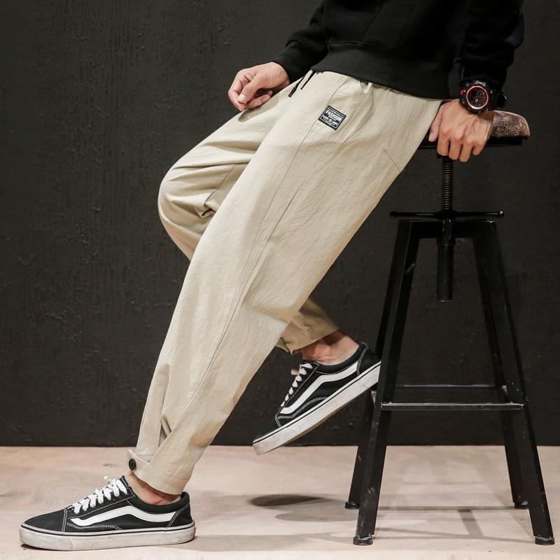 Dropshipping 2020 Mens Linen Losse Sweatpants Men Solid Harajuku Streetwear Harem Pants  Male Sweatpants 5XL Joggers