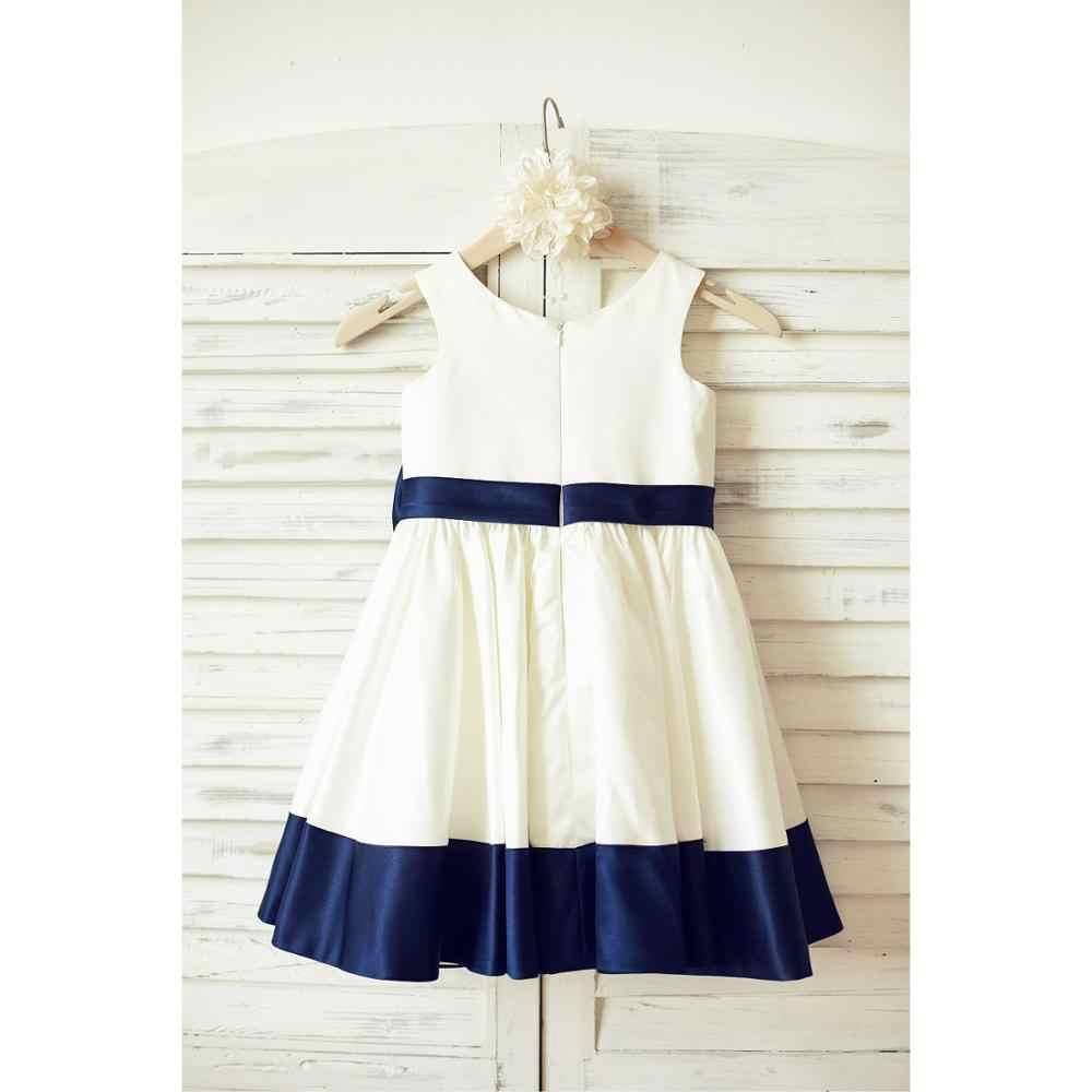 Белое и синее бальное платье для причастия 2019 простой сатин платье с супер бантом на молнии без рукавов платье для свадебной вечеринки