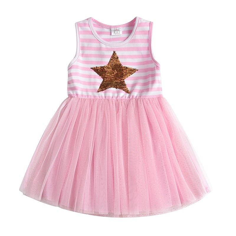 DXTON Girls Summer Dress Star Sequined Girls Tutu Dresses Kids Cartoon Princess Dress Children Costumes for Kids Cotton Clothes 4