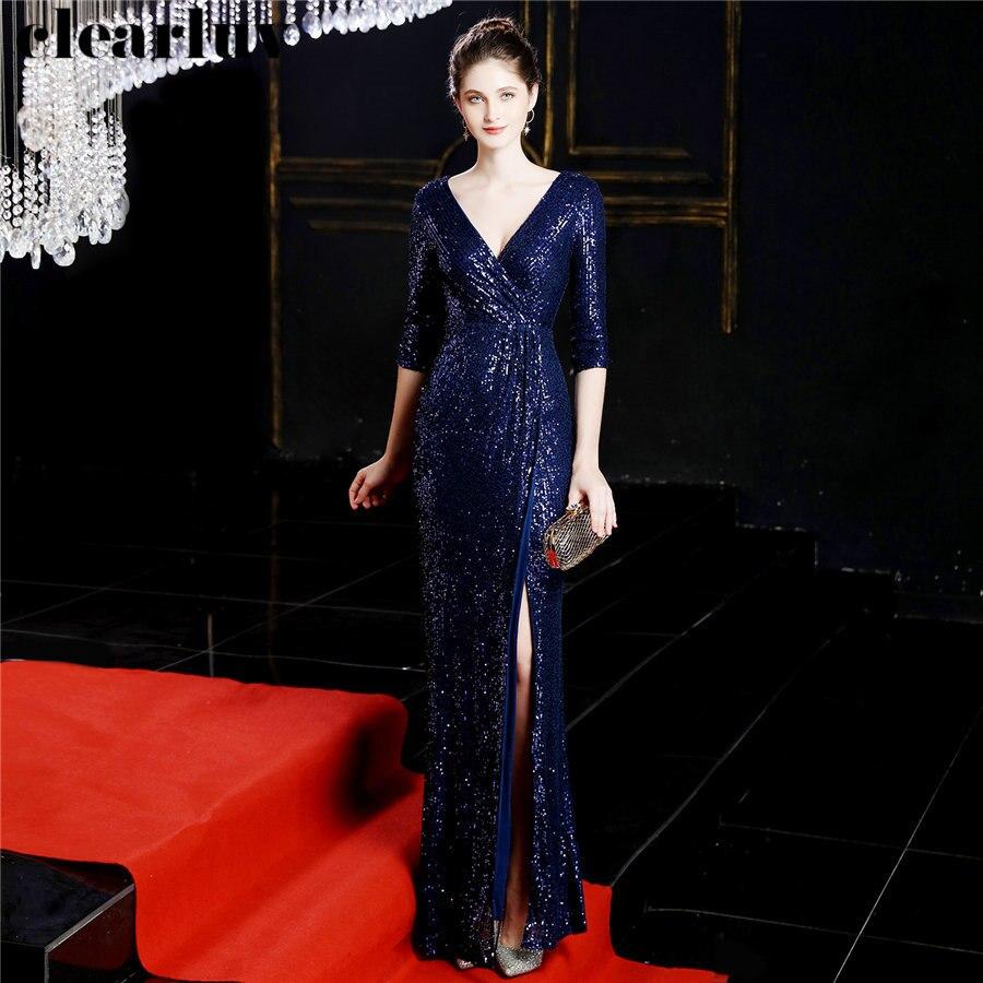 Formal Gowns Sexy V-Neck Women Party Dress DX246 2019 Plus Size Robe De Soiree Split Long Elegant Sequins Mermaid Evening Dress