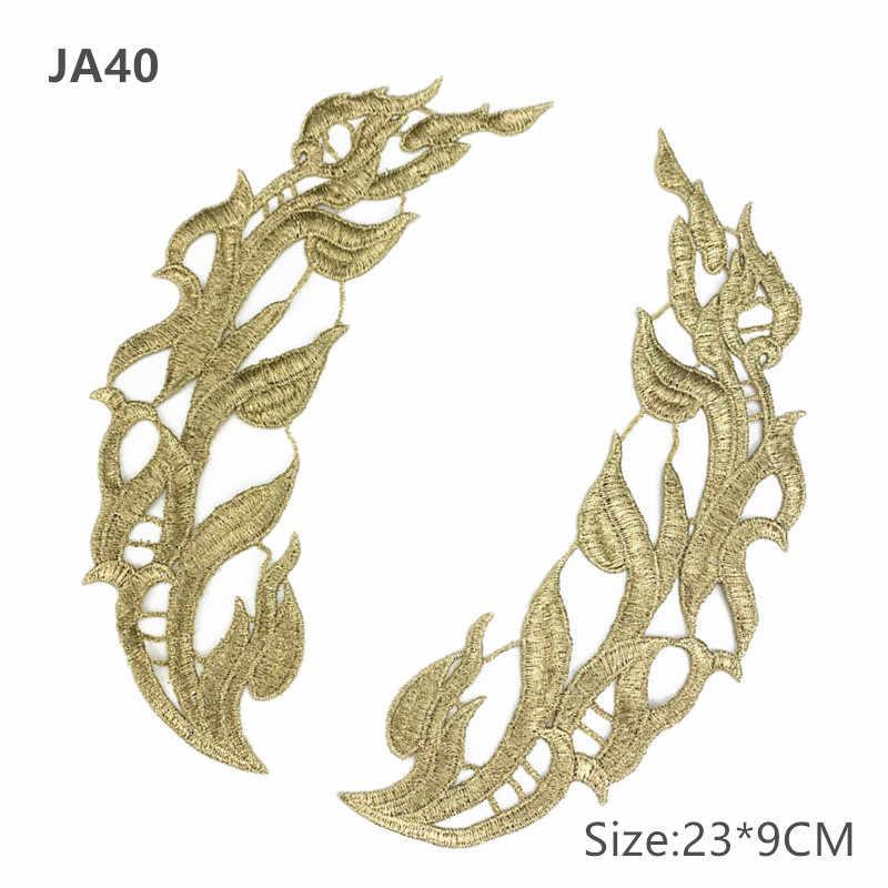 Zsbszc Specchio Pair Ricamato patch Dorato Guipure Pizzo Per Cucire del merletto per il vestito da Applique DA Sposa FAI Da TE Headdres Colletto di Pizzo JA104