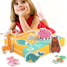 Children Matching Puzzle Game Wood Early Learning Card Animal Car Vegetables Cognitive Childrens Gift