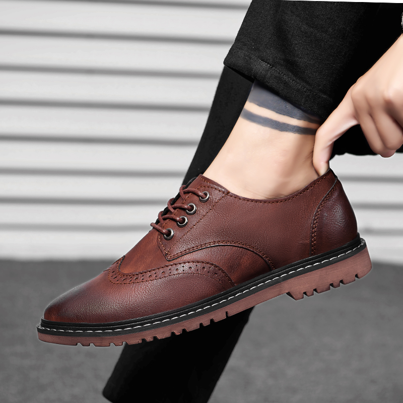 Luxury Oxford Leather Shoes Men Outdoor Breathable Fashion Shoes Male Office Flats Brogue Footwear Mocassin Homme Big Size 47