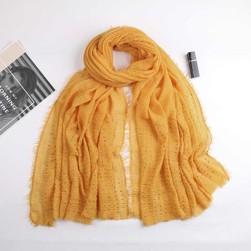 PLAIN สีฟองฝ้าย Maxi มุสลิมหญิง Hijab Turban GOLD Diamonds Headband Fringe ขอบ Headscarf ยาวผ้าคลุมไหล่ 180X100 ซม.