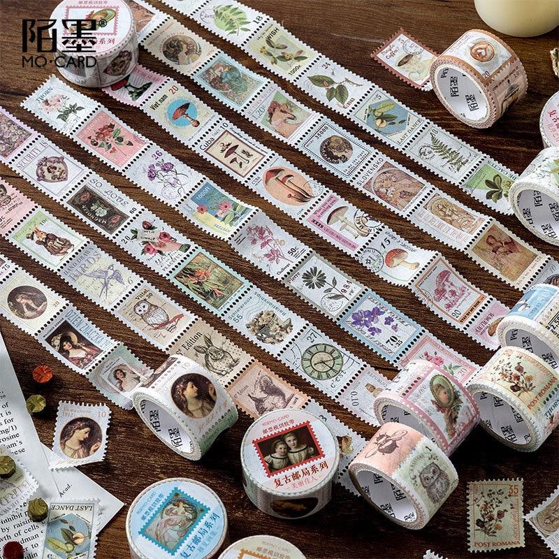 Vintage Post Office Series Washi Masking Tape Retro Stamps Coffee Decorative Adhesive Tape DIY Scrapbooking Sticker Label