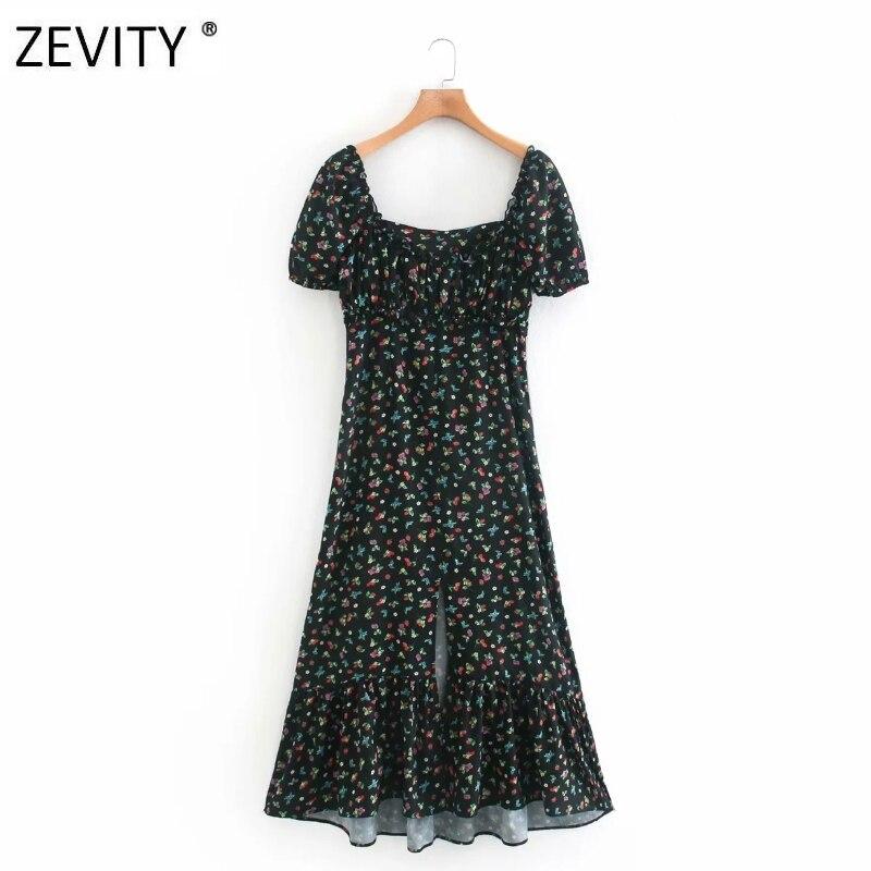 Zevity New Women vintage flower print split midi dress female puff sleeve pleats casual slim vestidos chic party Dresses DS4196