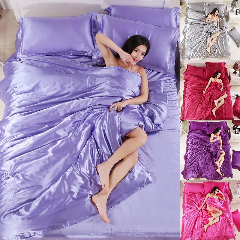 Наволочка на подушку накладки пижама из шелка фиолетовый серый Спальня постельные принадлежности одеяло Comforterbeddingset темно розовый, 4pcsbeddingset