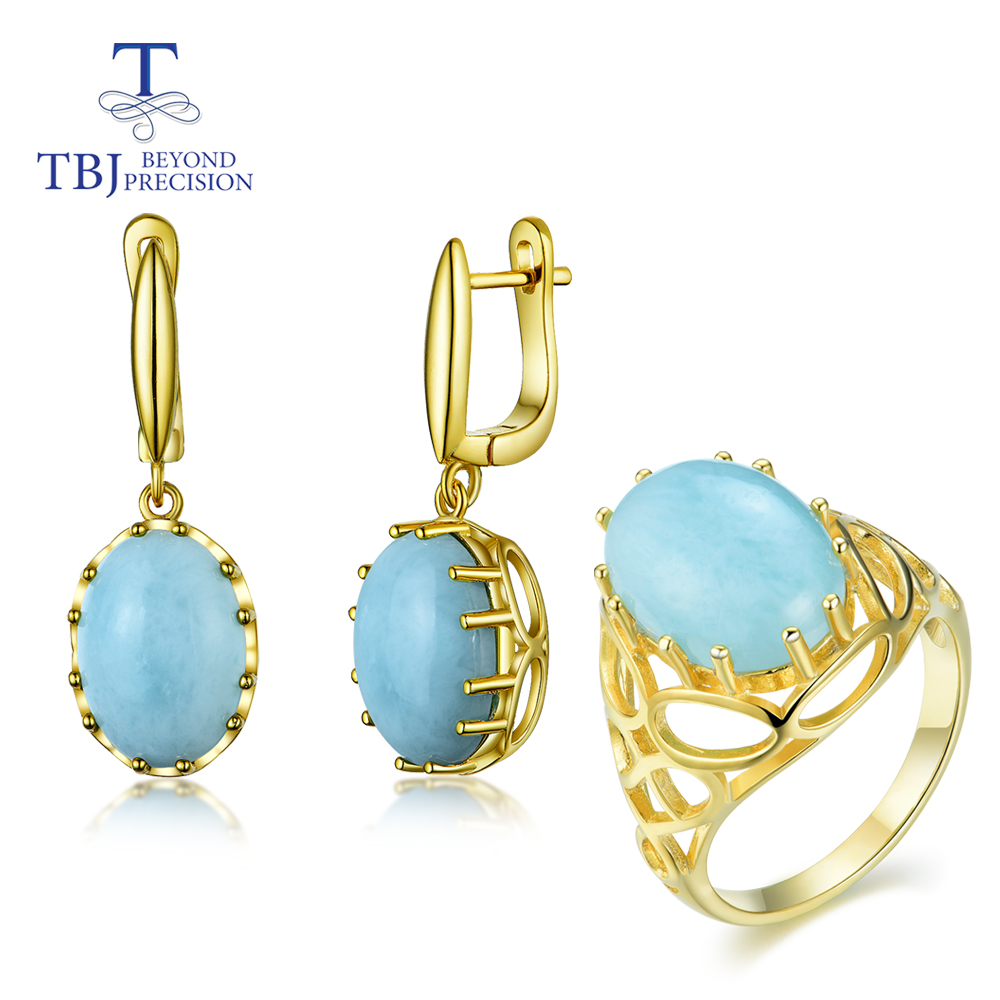 Natural Gemstone Oval 10*14 Larimar In 925 Sterling Silver Gold Color Ring,earrings Fine Jewelry New Style 2020 TBJ Recommended