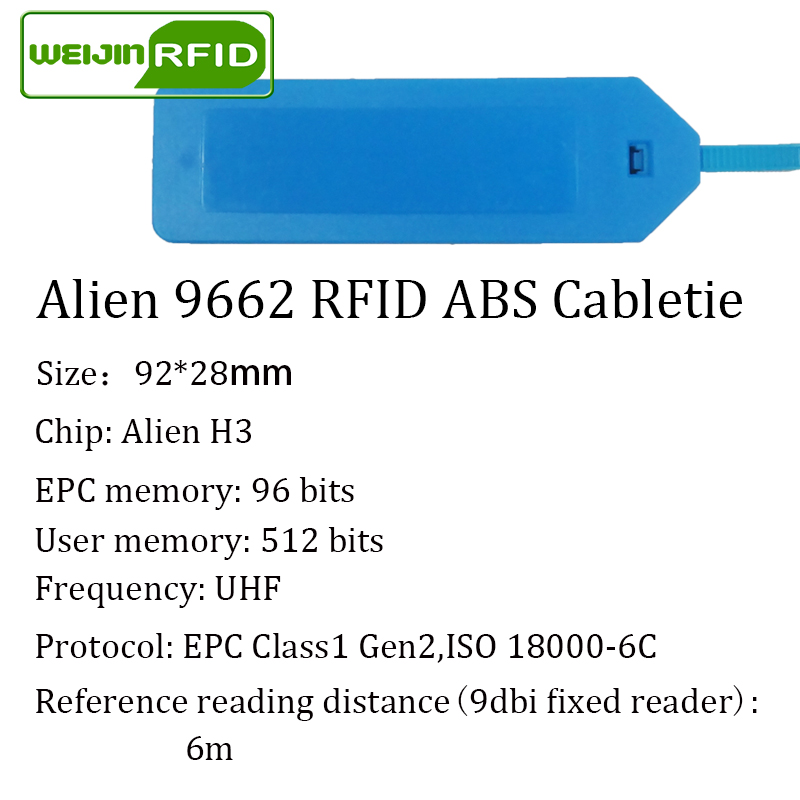 Купить с кэшбэком UHF RFID tag ABS cable tie Alien 9662 EPC6C 915mhz 868mhz 860-960M Higgs3 10pcs free shipping long range smart passive RFID tags
