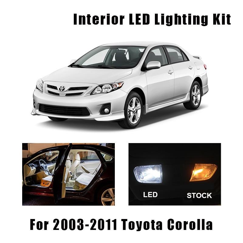 9 Bulbs White LED Interior Light Kit Fit For 2003-2006 2007 2008 2009 2010 2011 Toyota Corolla Map Dome Cargo License Lamp