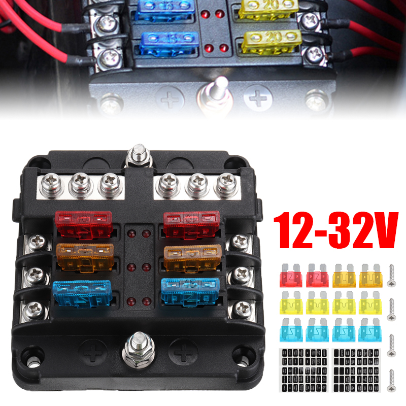 6 Way Fuse Holder Block Box Car 10 20 30 amp Circuit Standard Mini Blade ATC ATO