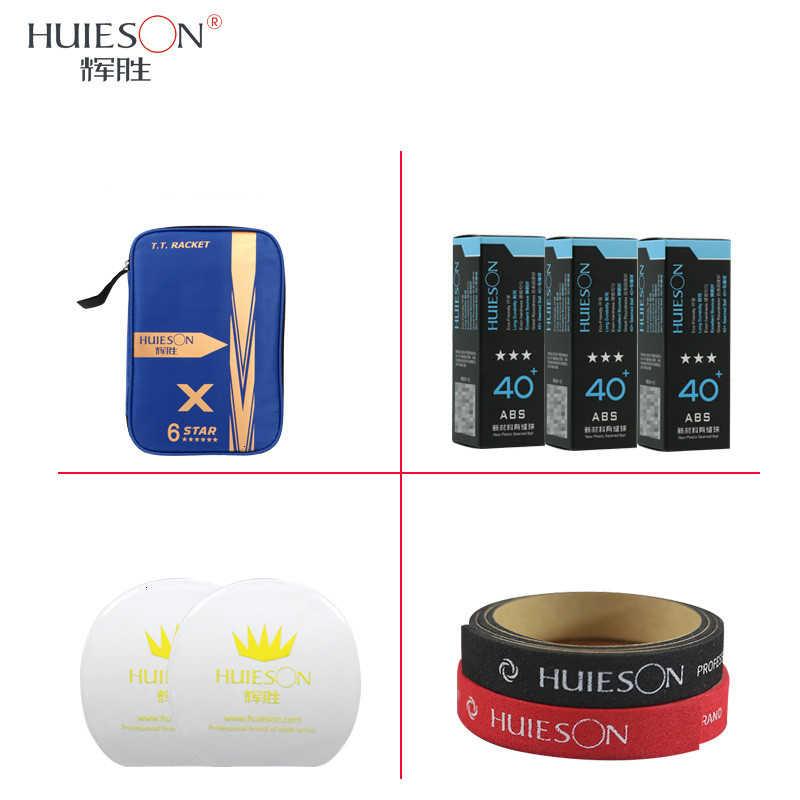 Huieson 6 Star juego de raquetas de tenis de mesa doble cara espinillas-en goma de Ping Pong Bat con pelotas de tenis de mesa/cubierta/Protector de borde