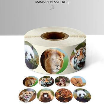 500 PCS Zoo Animals Round Cute Stickers 8 Animal Patterns Diary Stickers  Kids Diy Gift Label School  Stationery Sticker 500 pcs roll zoo cartoon animal stickers 8 design stickers for children s classic toys stickers school reward kids stickers