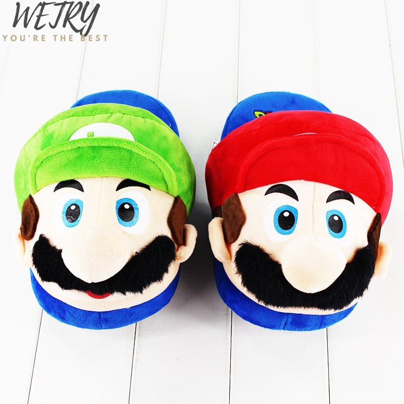 28cm Game Super Mario Bros Cartoon Shape Shoes For Women Men Winter Indoor Home Wear Soft Warm Unisex Plush Cartoon Slippers