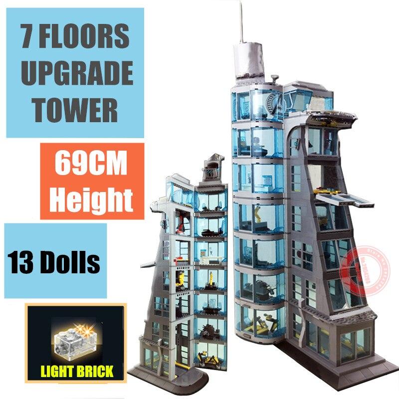 Nouveau 7 étages Version améliorée super-héros Ironman Marvel Avengers tour Avenger jeu de construction briques garçon enfant cadeau jouet