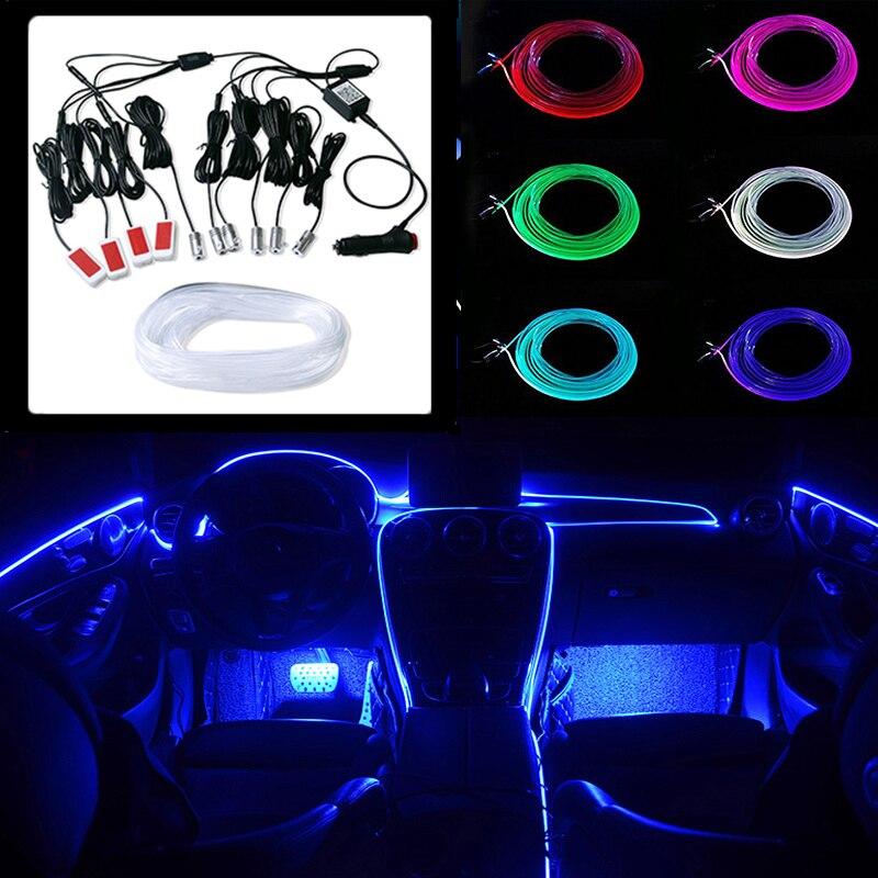 6M 8M 10M RGB LED atmosphère voiture lumière décoration intérieure bande de fibres optiques lumières par App contrôle 12V lampe ambiante décorative