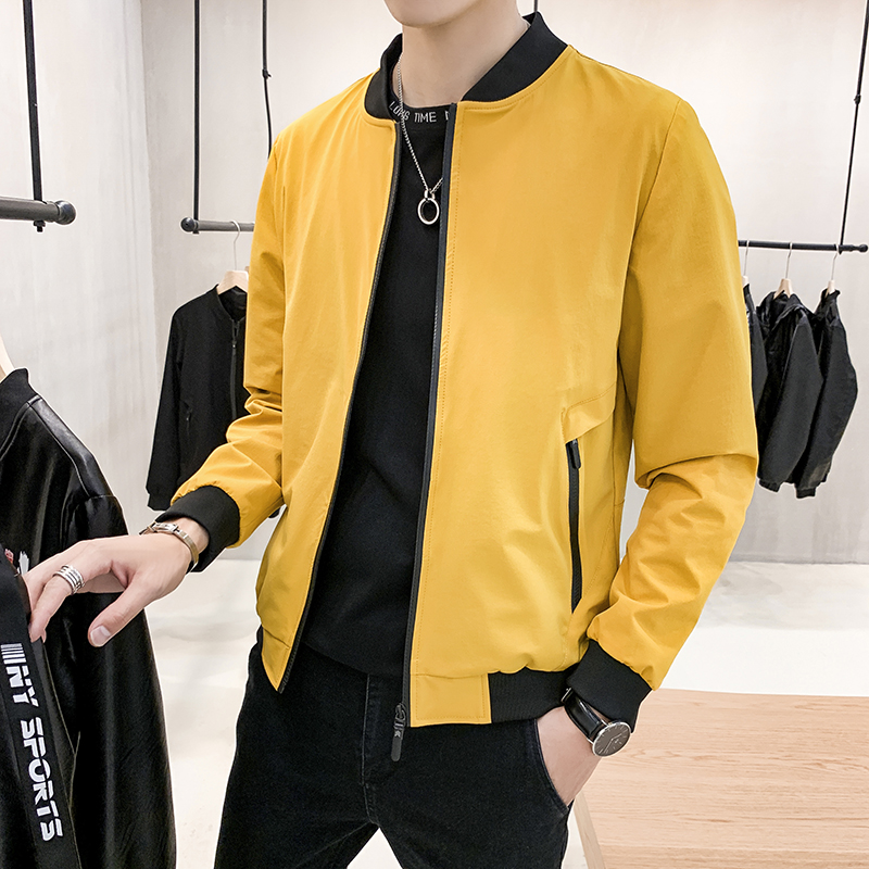 Bomber Jacket Men Slim Fit 2020 Spring Autumn Casual Jackets Male Zipper Pocket Baseball Collar Yellow Mens Windbreaker Jackets