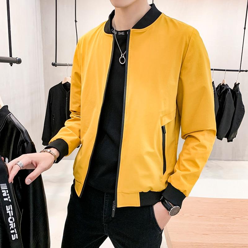 Bomber Jacket Men Slim Fit 2020 Spring Autumn Casual Jackets Male Zipper Pocket Baseball Collar Yellow Mens Windbreaker Jackets