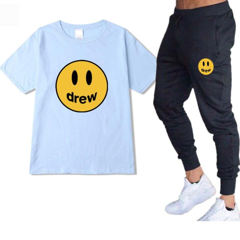 Hip-hop summer Justin Bieber got a T-shirt Set Justin Bieber smile t-shirt sportswear men women cotton men sportswear