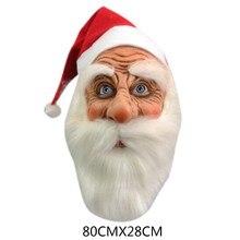 Funny Santa Claus Full Mask Super Soft Santa Face Mask Wig Beard Costume Christmas Party Ho