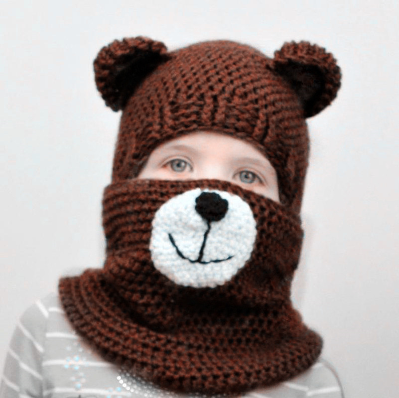 Autumn And Winter New Children's Hat Bib Two-piece Cartoon Antlers Bear Wool Hat Men And Women Baby Children's Clothing