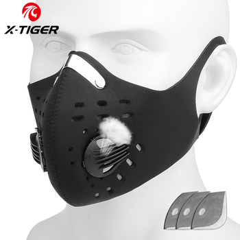 X-TIGER Bike Mask With Activated Carbon Filters Bicycle Mask Cycling Face Mask Anti-Pollution Sport Breatable Facemask