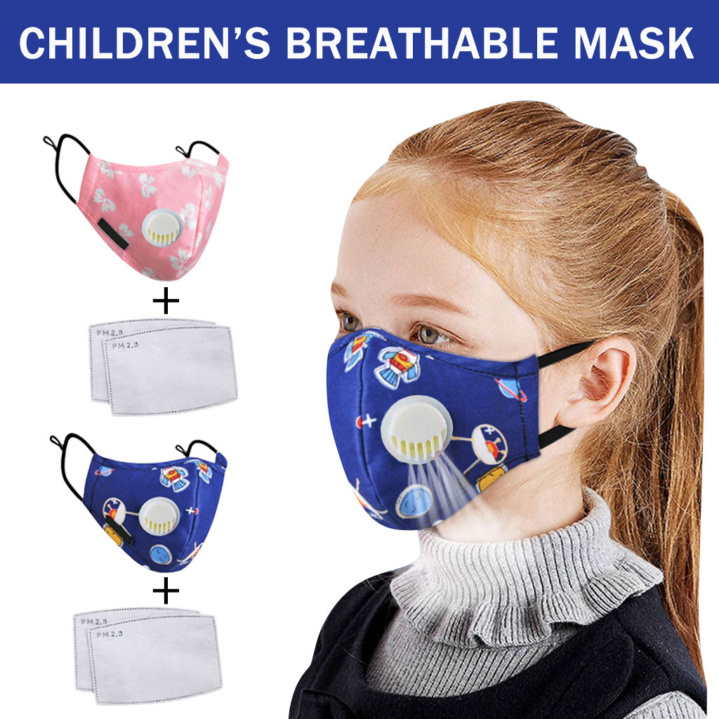 4 Pc Kids Anti Pollution PM2.5 Mouth Face Mask Breathing Valves Activated Carbon Filter Pad Kids Anti-dust Face Mask Respirator