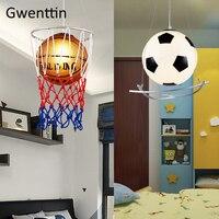 Basquete Futebol Pingente Luzes para Ciranças Quarto Quarto Lâmpada Pendurada Moderno Loft Industrial Levou Luminárias Presente Decor Home|Luzes de pendentes| |  -