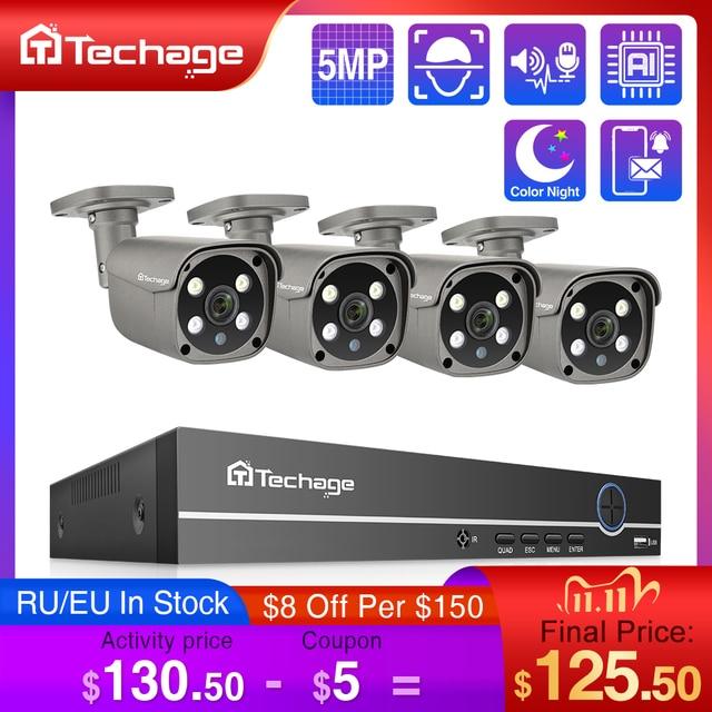 Techage H.265 4CH 5MP POE NVR Kit CCTV System Two Way Audio AI IP Camera IR Outdoor Waterproof Video Security Surveillance Set
