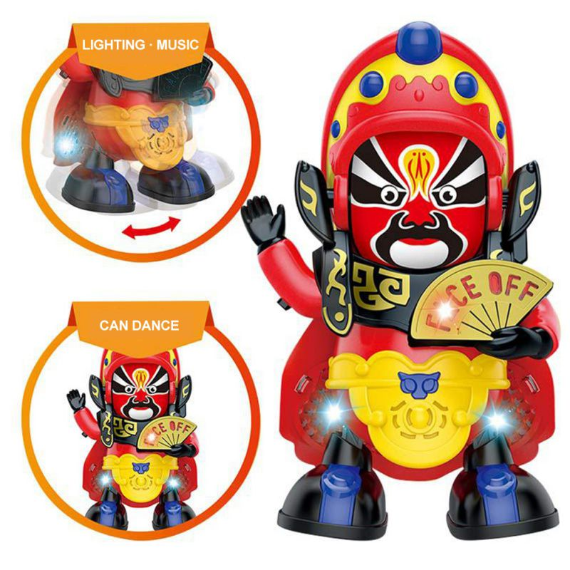 Children's Electric Toys Dance Changing Face Light Music Robot Sichuan Automatic Face Changing Doll Peking Opera Toys