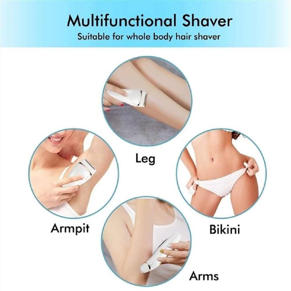 Afeitadora eléctrica sin dolor para mujer, recortadora de Bikini para todo el cuerpo, impermeable, carga USB, pantalla LCD, uso húmedo y seco