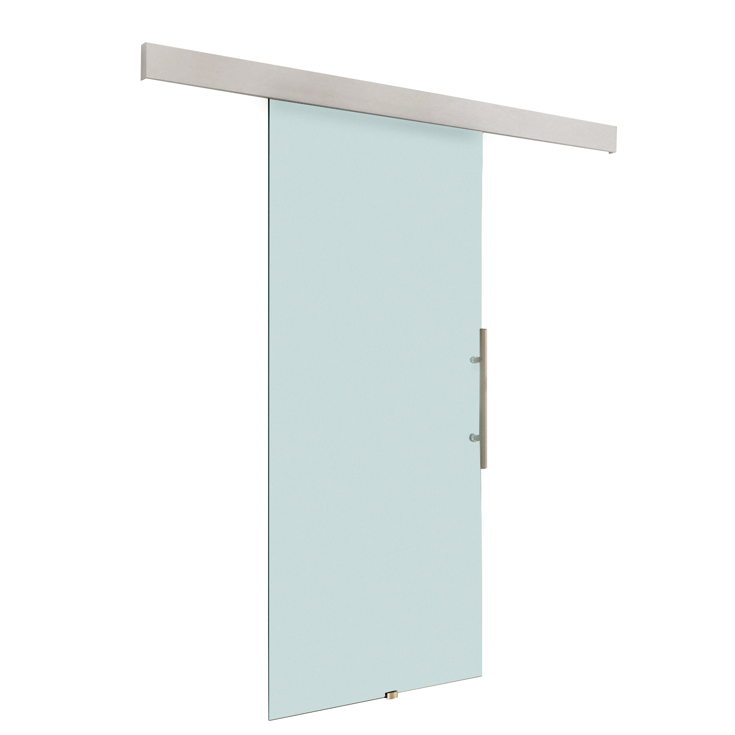 HOMCOM sliding door interior frosted glass with tracks and handle for bathroom kitchen study 205x77.5x0.8cm image