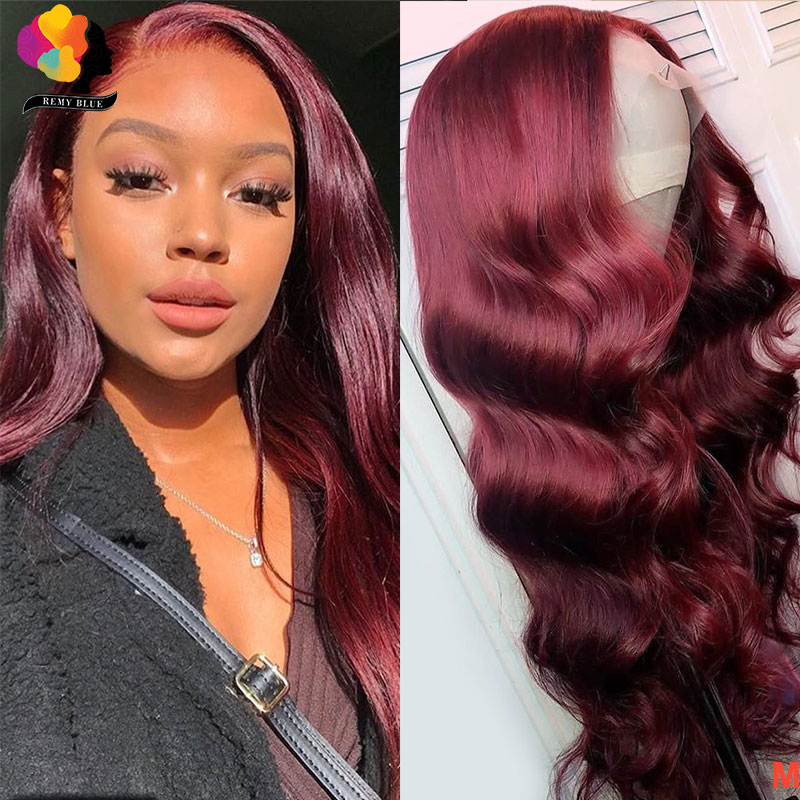 Body Wave 99J Lace Front Human Hair Wigs For Black Women Brazilian Burgundy Lace Front Wig Pre Plucked Remyblue Remy 150 Density