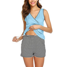 2pcs Women Maternity Nightwear Pajamas Set Sleeveless Nursing Vest Tops+stripe Shorts Pajamas Set Sleepwear Maternity Pajamas