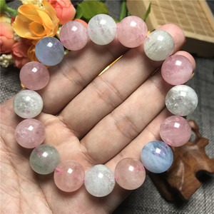 Image 1 - 14mm Natural Colorful Morganite Bracelet For Women Clear Round Beads Gemstone Love Stone Gemstone Bracelet Fashion Jewelry AAAAA
