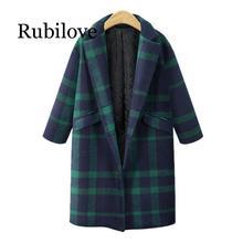 Rubilove Womens Winter Plaid Lapel woolen coat Trench Jacket Long Parka Overcoat Lady lattice medium thick straight barrel cashm