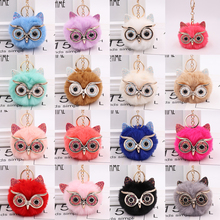 Cute fluffy pompom keychain fashion animal shape owl imitation rabbit fur ball car female key bag pendant WJ250