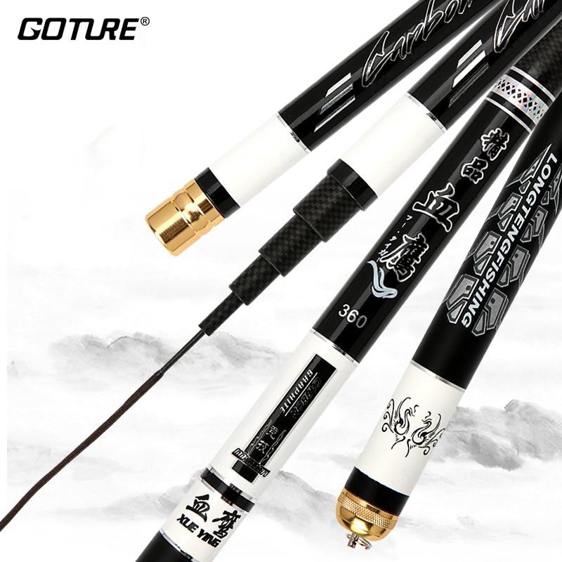 Goture Super Hard 6H 1/9 Power Carp Feeder Fishing Rod Carbon Fiber Telescopic Stream Rods Hand Pole For Freshwater 2.7-6.3m