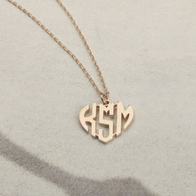 Gold Color Personalized Heart Monogram Necklace Stainless Steel Long Chain Custom Initials Letters Pendant Birthday Jewelry BFF(China)