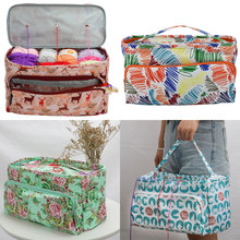 Square Yarn Storage Bag 6 Colors Crochet Bag For Crochet Hooks And Knitting Needles DIY Weave Knitting Bag Sewing Accessories crochet romantic heart series pattern knitting book 100 lovely stereoscopic small objects diy weave book