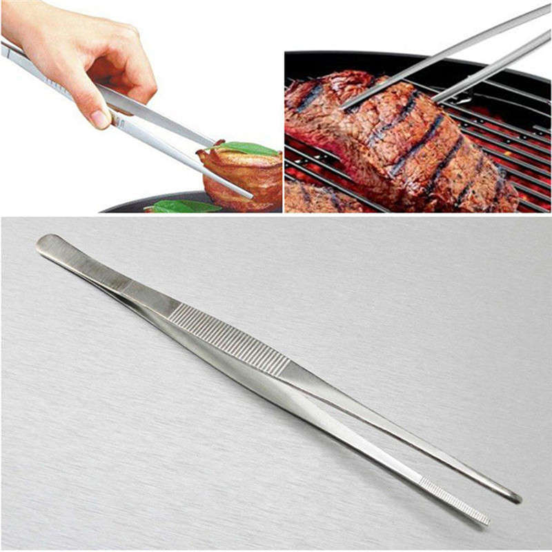 30CM/12 Inch Stainless Steel BBQ Tweezers Kitchen accessories BBQ Grill Food Tongs Clip Buffet BBQ Restaurant Tool cooking tools|Seafood Tools| |  - title=