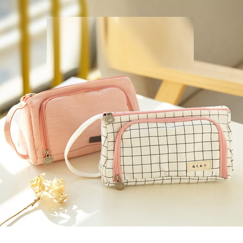 New Double Zip Canvas Pencil Case Cosmetic Pouch Stationery Storage Makeup Bag Stationery Cosmetic Bag Gift