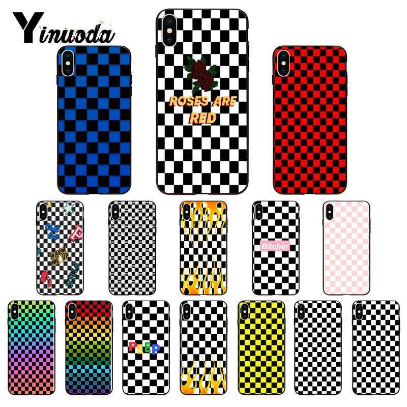 Ruicaica Checkerboard Checkered Novelty Fundas Phone Case Cover for iPhone 8 7 6 6S 6Plus X XS MAX 5 5S SE XR 10