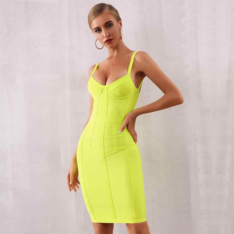 Новейшее летнее вечернее облегающее платье знаменитостей женское желтое платье на тонких бретельках сексуальное платье для ночного клуба женское платье Vestidos