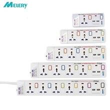 قطاع الطاقة 1/2/3/4/5 طريقة التيار المتناوب منافذ عالمية التوصيل المقبس مع USB بشكل فردي التبديل تمديد الحبل زيادة/حماية الزائد