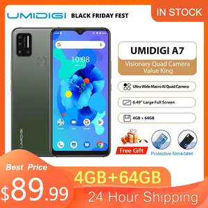 UMIDIGI A7 Smart phone 4G Android 10 4GB 64GB Quad Camera 6.49'' Large Full Screen Octa-Core Processor Umidigi Cell Mobile phone
