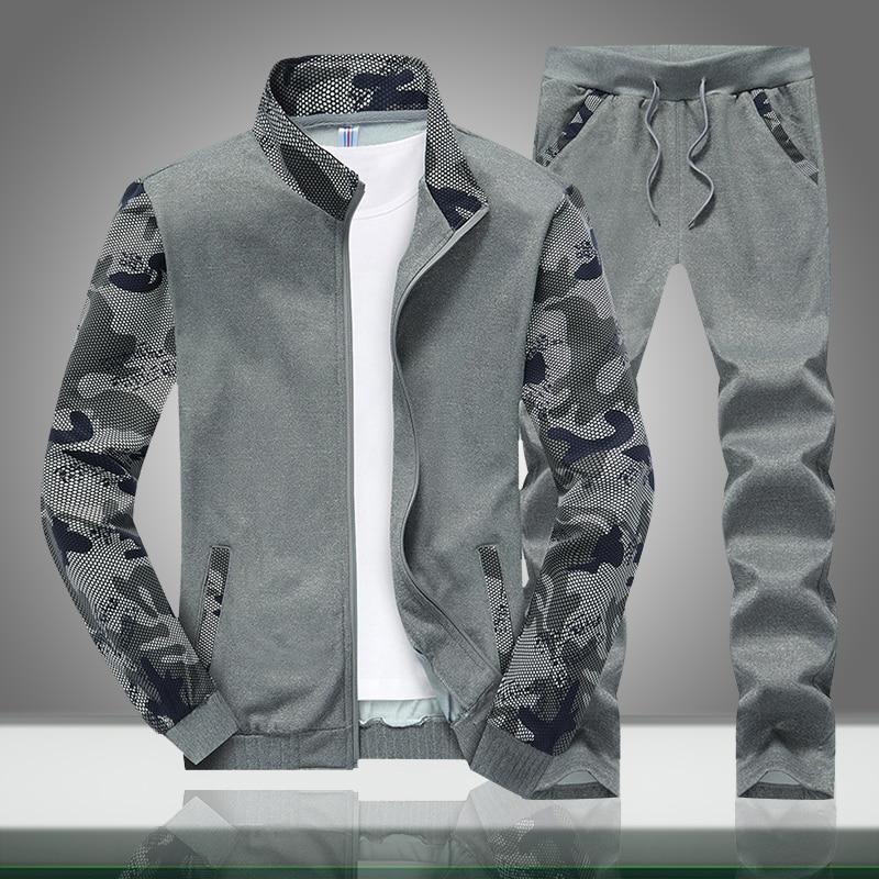 Autumn New Men Sets Camouflage Male Causal Slim Fit Stand Collar Camo Tracksuit Jacket+Pants 2PC Sets Men's Sportswear Sweatsuit